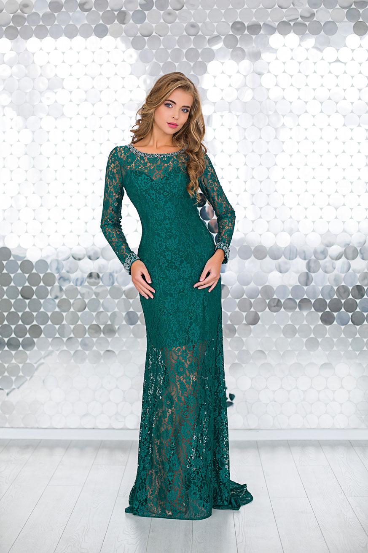 6a6bc0cdd28 Купить кружевное зеленое платье Loreen в пол на выпускной