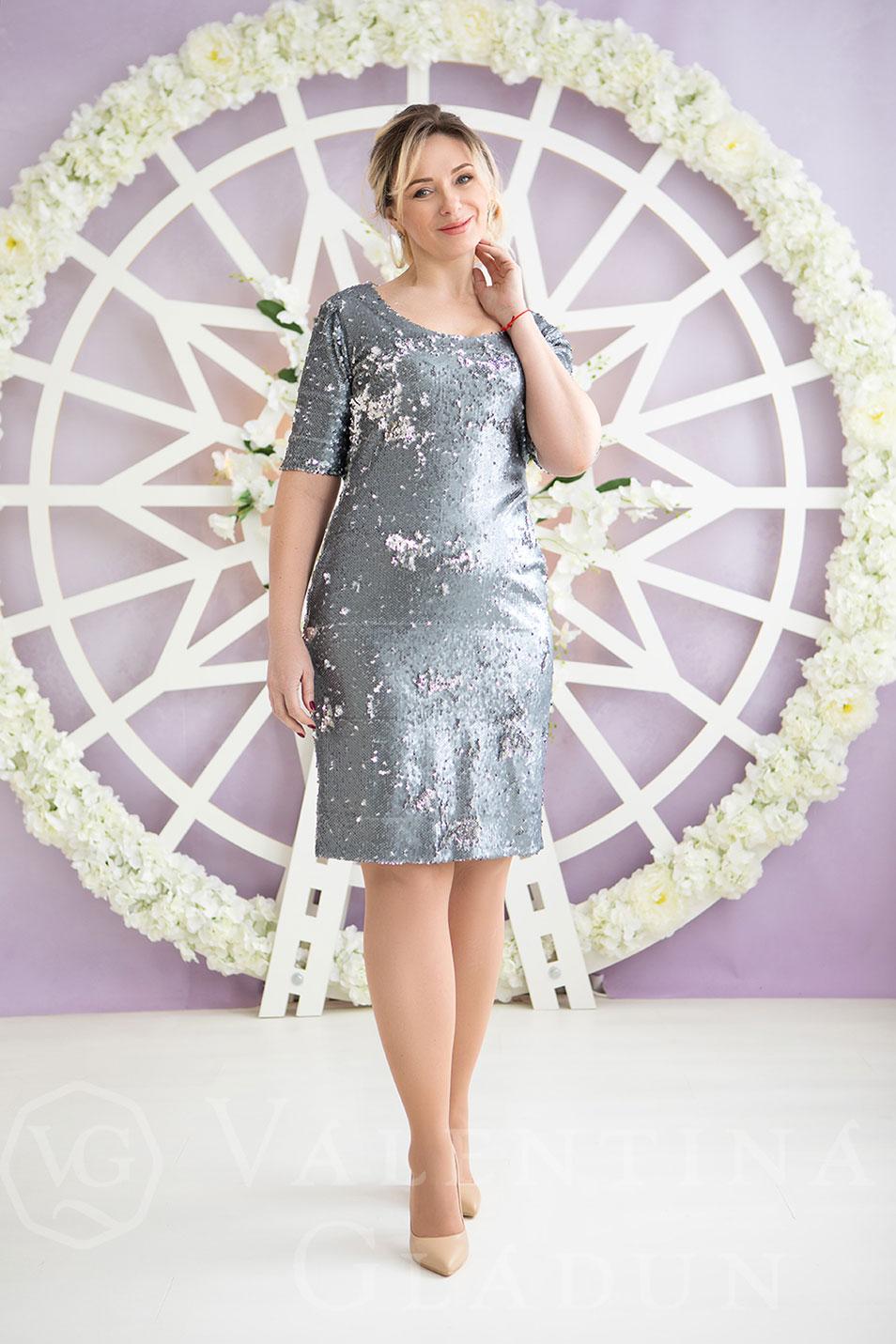 1a94c30e035 Вечернее серое платье с пайетками на корпоратив Tina  цена