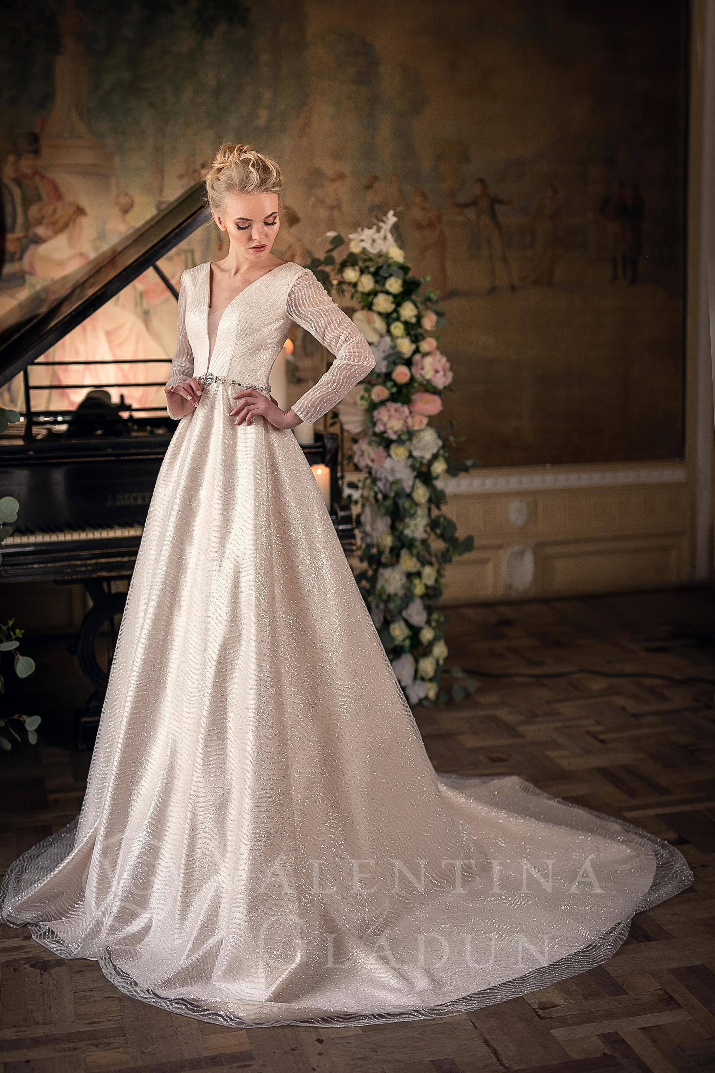 496f37b7ef8 Роскошное свадебное платье с длинными рукавами Ersaria