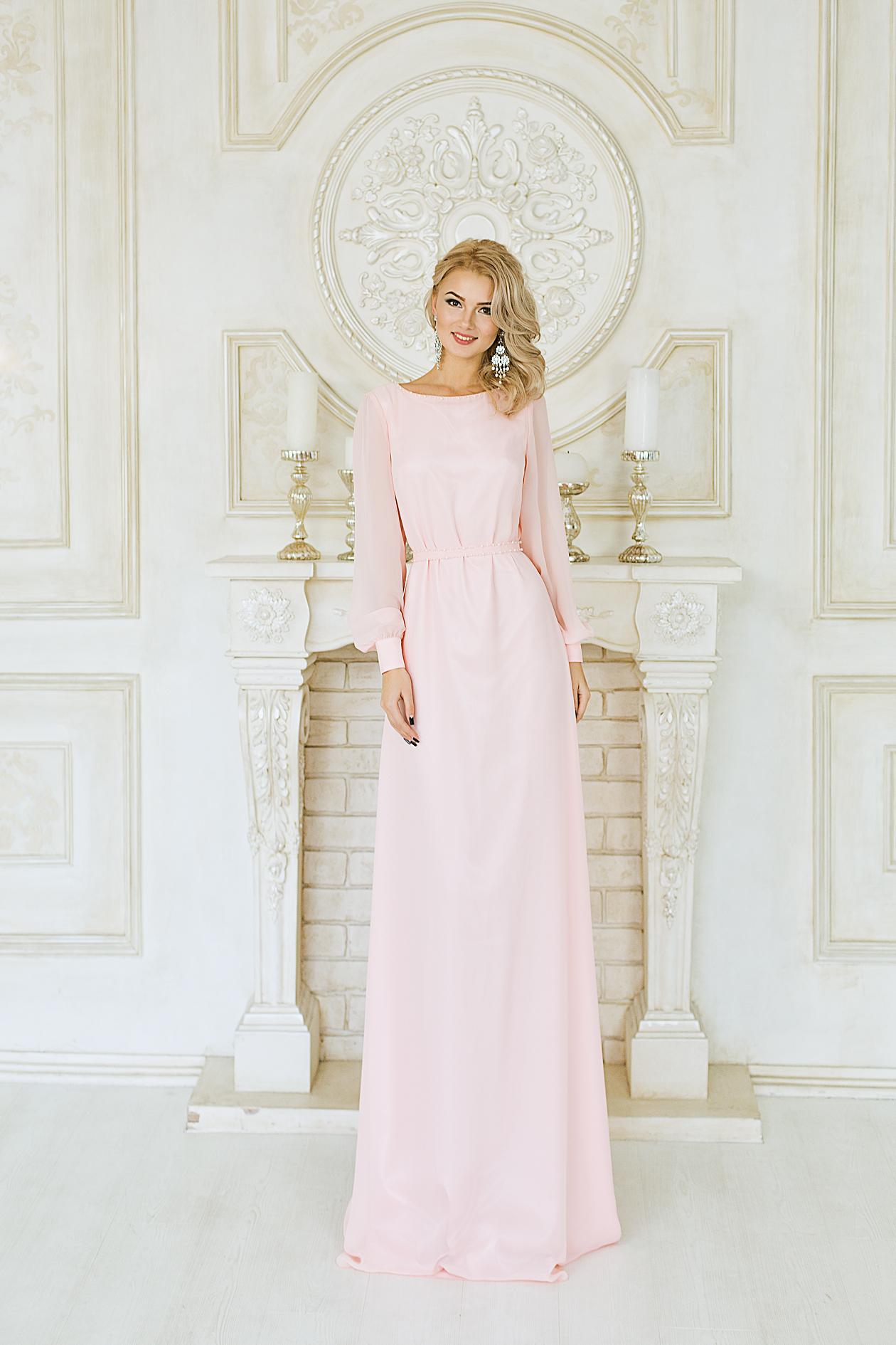 da19df0dae7 Нежное длинное платье с длинным рукавом и открытой спиной Image ...