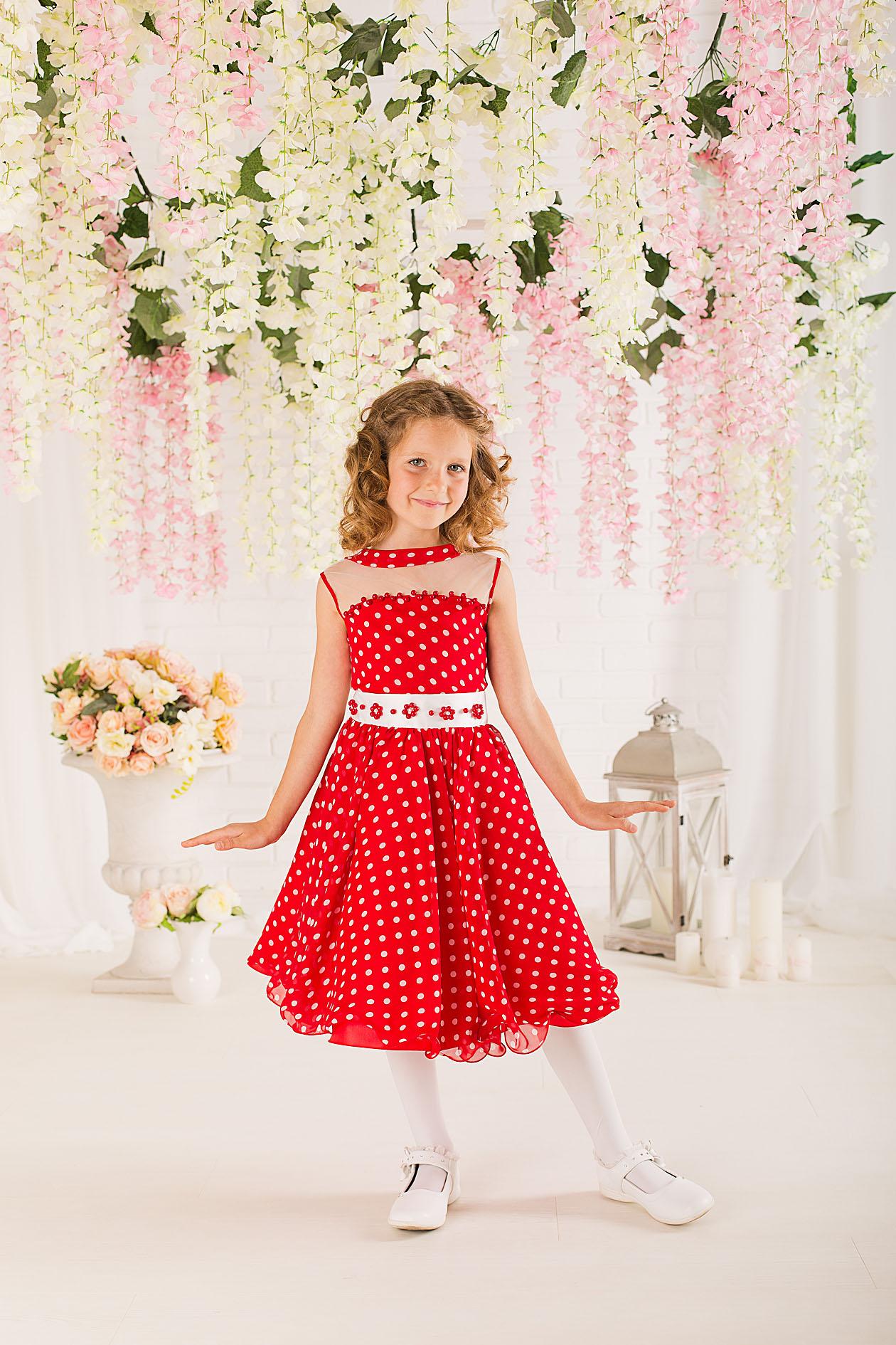 f40d385664c Купить короткое детское платье красное в белый горох Maya