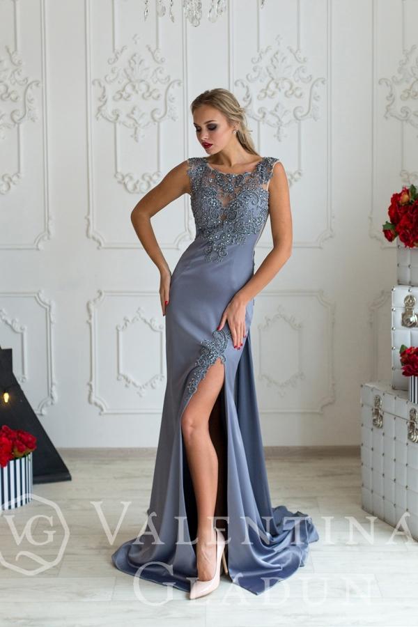серое платье в пол на выпускной 2018